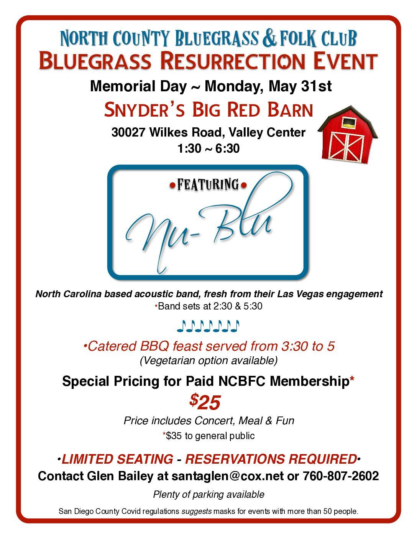 Nu-Blu Live – Memorial Day Bluegrass Resurrection Concert & BBQ